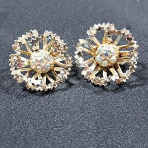 Sarah Coventry Round Sparkly Earrings Clip On Gold